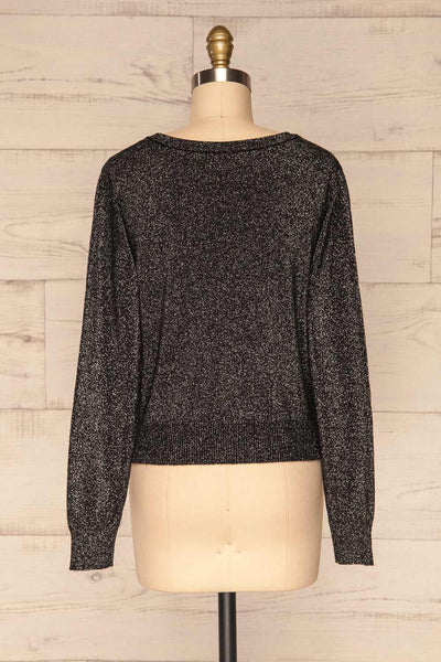 Mychaljo Black Sparkly Long Sleeved Top | La Petite Garçonne back view