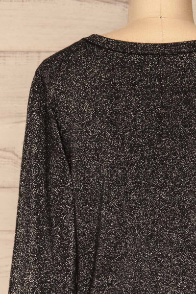 Mychaljo Black Sparkly Long Sleeved Top | La Petite Garçonne back close-up