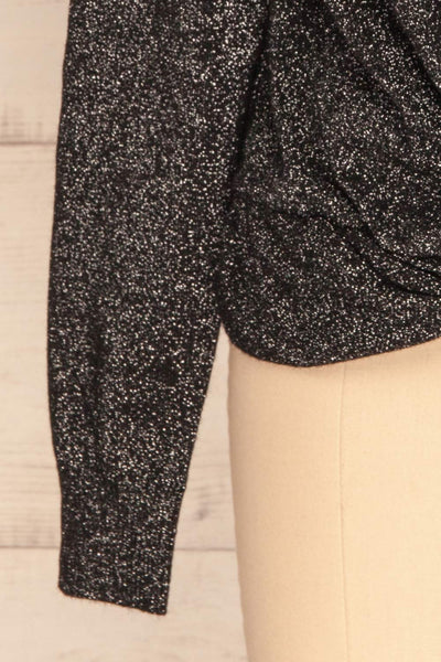 Mychaljo Black Sparkly Long Sleeved Top | La Petite Garçonne sleeve close-up