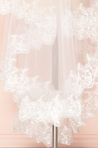 Mykhailo White Wedding Veil with Floral Lace Border | Boudoir 1861
