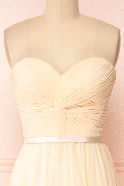 Myrcella Champagne Cream Corset Back Gown | Boudoir 1861 front close-up