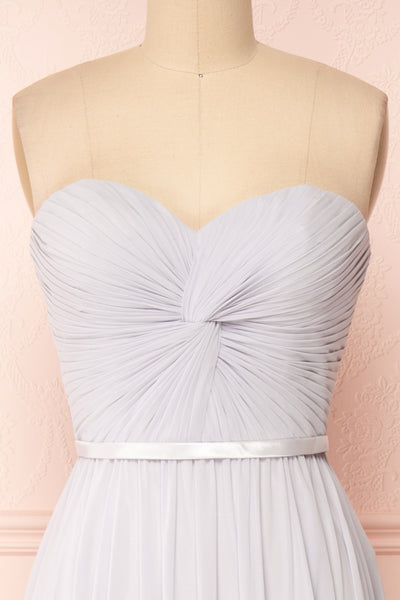 Myrcella Grey Corset Back Gown | Boudoir 1861 front close-up