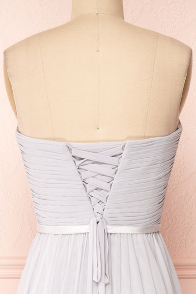 Myrcella Grey Corset Back Gown | Boudoir 1861 back close-up