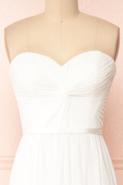Myrcella White Bustier Maxi Dress | Boudoir 1861 front close-up