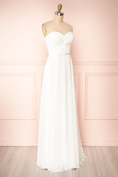 Myrcella White Bustier Maxi Dress | Boudoir 1861 side view