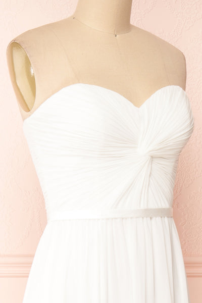 Myrcella White Bustier Maxi Dress | Boudoir 1861 side close-up