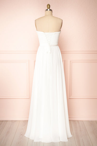 Myrcella White Bustier Maxi Dress | Boudoir 1861 back view