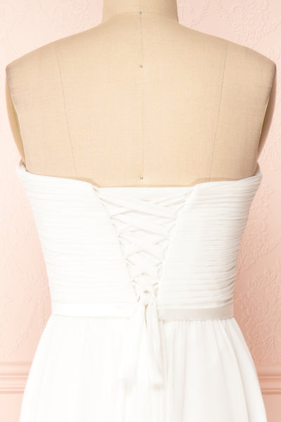 Myrcella White Bustier Maxi Dress | Boudoir 1861 back close-up