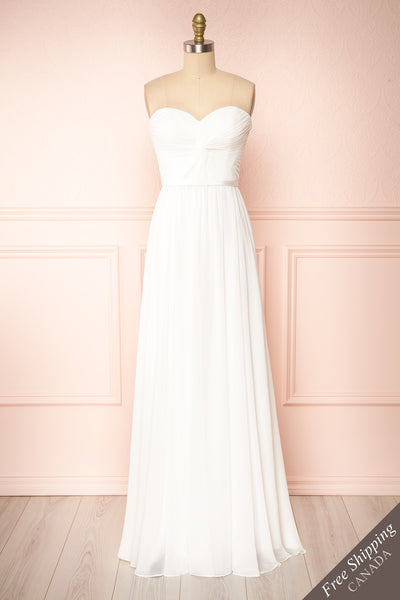 Myrcella White Bustier Maxi Dress | Boudoir 1861 front view