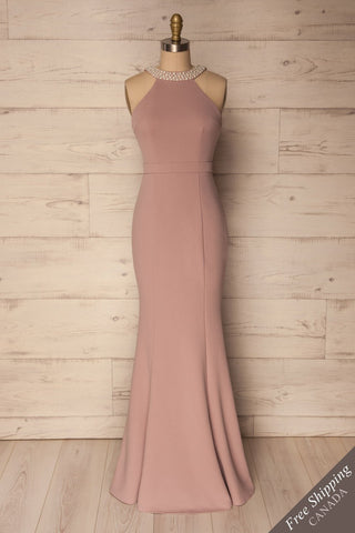 Myrina Mauve Open Back Mermaid Gown with Pearls | La Petite Garçonne
