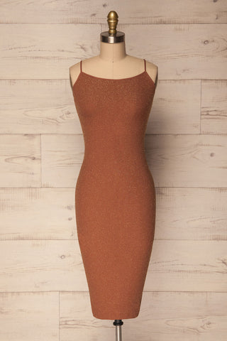 Nachod Copper Brown Sparkly Fitted Dress | La Petite Garçonne