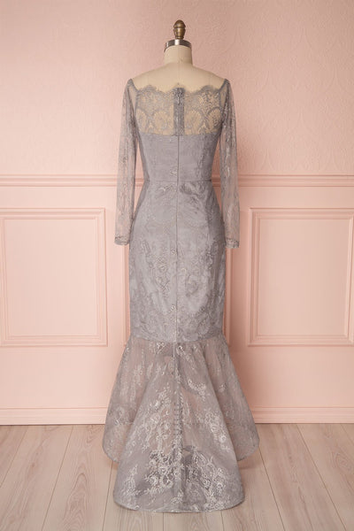Nadeja Grey Lace Fitted High-Low Mermaid Gown | Boutique 1861