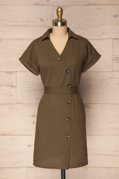 Nadrin Khaki Green Button-Up Tunic Dress | La Petite Garçonne
