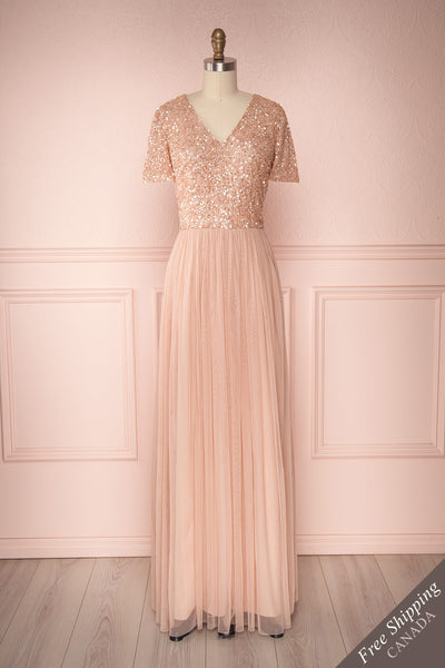 Naëlle Rose Blush Pink Sequined Flare Gown | Boutique 1861
