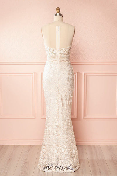 Nafise Cream Lace & Mesh Gown with Openwork | Boudoir 1861