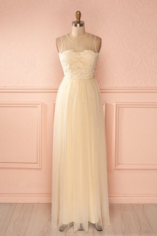 Naïla Day - Cream tulle and crochet maxi dress