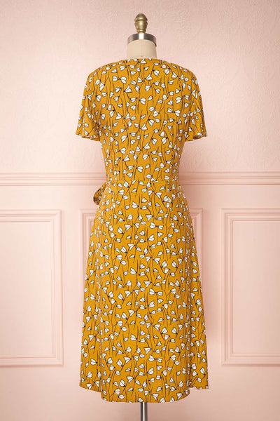 Nakama Yellow Floral Midi Wrap Dress | Boutique 1861