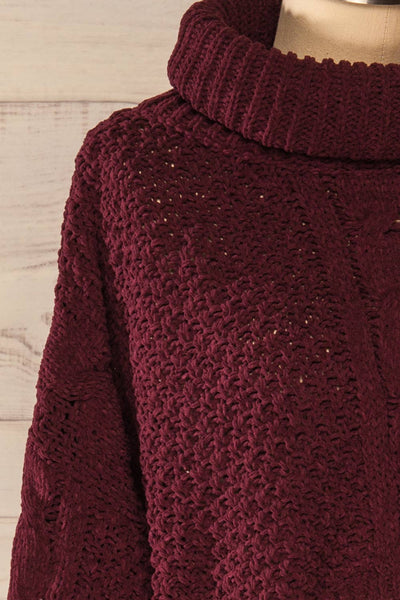 Nakka Burgundy Cropped Knit Sweater | La petite garçonne side close-up