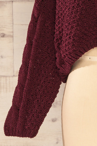 Nakka Burgundy Cropped Knit Sweater | La petite garçonne bottom