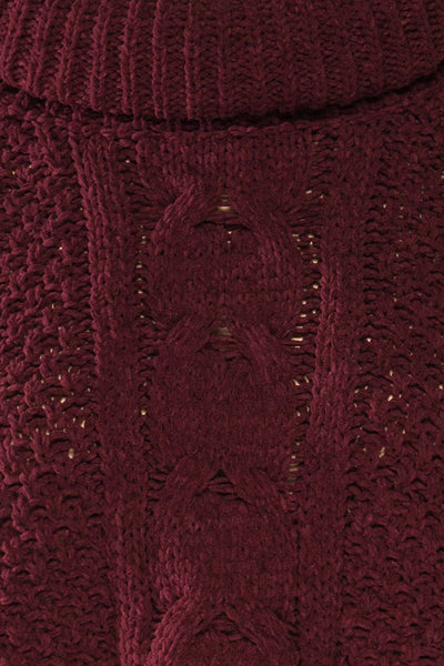 Nakka Burgundy Cropped Knit Sweater | La petite garçonne fabric