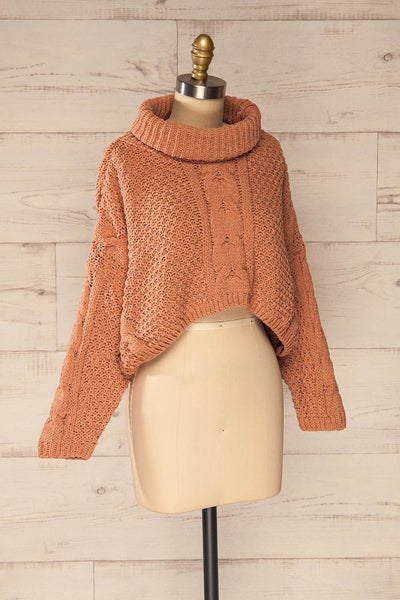 Nakka Pink Cropped Knit Sweater | La petite garçonne side view