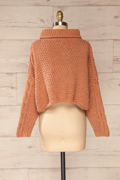 Nakka Pink Cropped Knit Sweater | La petite garçonne back view