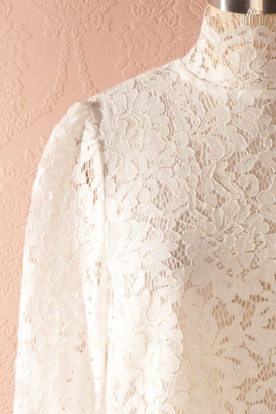 Nania Day - White lace stand collar blouse 2