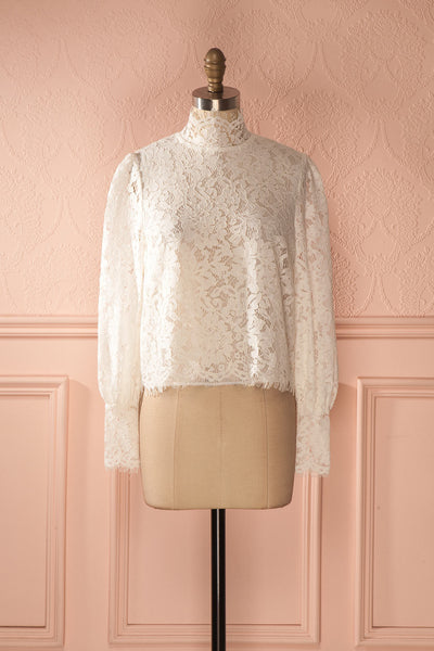 Nania Day - White lace stand collar blouse 1