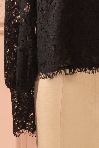 Nania Night - Black lace stand collar blouse 7