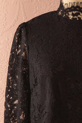 Nania Night - Black lace stand collar blouse