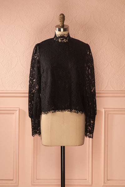 Nania Night - Black lace stand collar blouse 1
