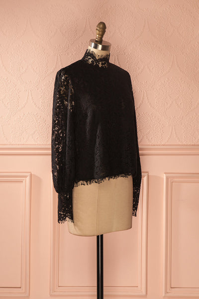 Nania Night - Black lace stand collar blouse 3