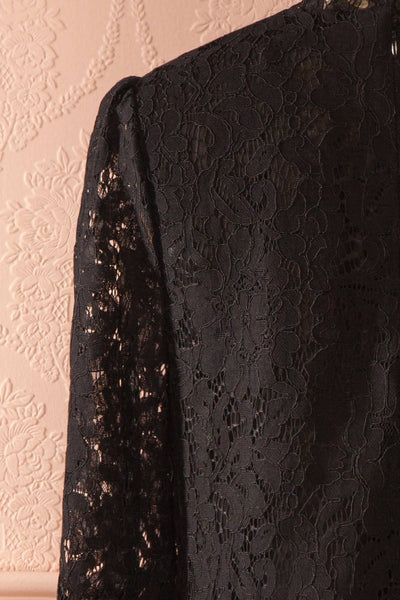 Nania Night - Black lace stand collar blouse 6