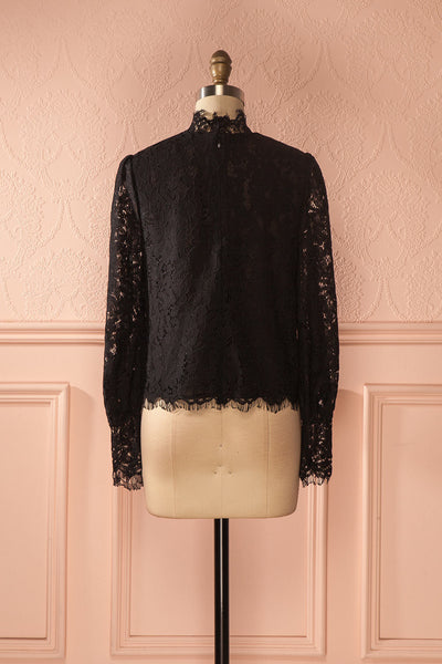 Nania Night - Black lace stand collar blouse 5
