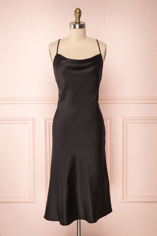 Nanihe Black Satin Midi Slip Dress | Boutique 1861