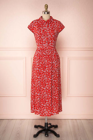 Naoka Red Floral Midi A-Line Dress | FRONT VIEW | Boutique 1861