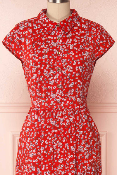 Naoka Red Floral Midi A-Line Dress| FRONT CLOSE UP | Boutique 1861