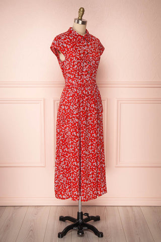 Naoka Red Floral Midi A-Line Dress | SIDE VIEW | Boutique 1861