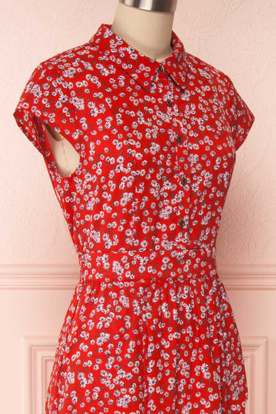 Naoka Red Floral Midi A-Line Dress | SIDE CLOSE UP | Boutique 1861