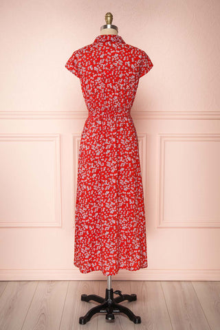 Naoka Red Floral Midi A-Line Dress | BACK VIEW | Boutique 1861
