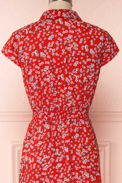 Naoka Red Floral Midi A-Line Dress | BACK CLOSE UP | Boutique 1861