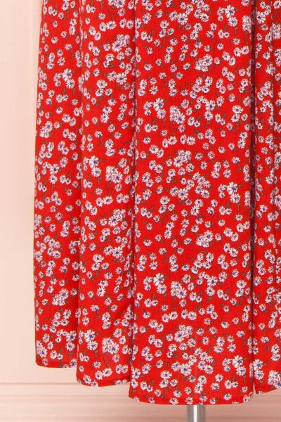 Naoka Red Floral Midi A-Line Dress | BOTTOM CLOSE UP | Boutique 1861