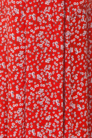 Naoka Red Floral Midi A-Line Dress | TEXTURE DETAIL | Boutique 1861