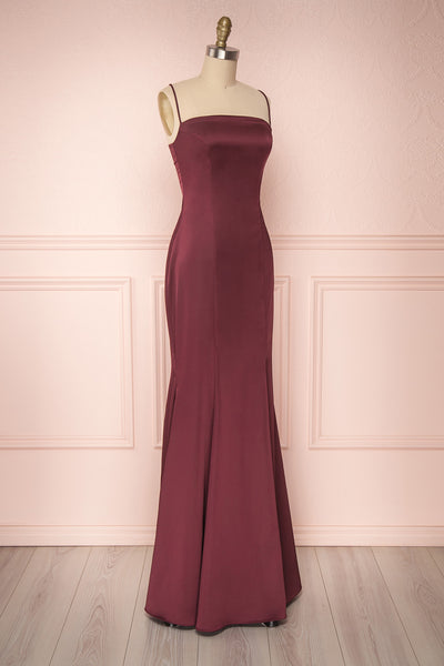 Naomie Burgundy Silky Mermaid Gown with Slit | Boudoir 1861 side view