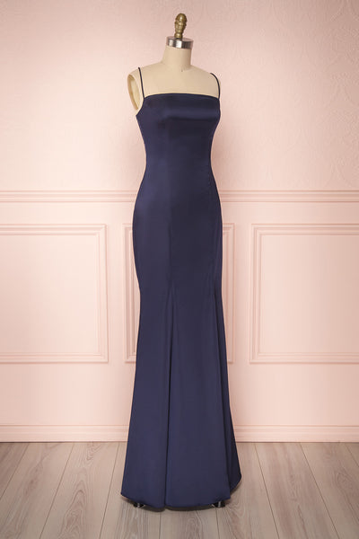 Naomie Navy | Blue Silky Gown