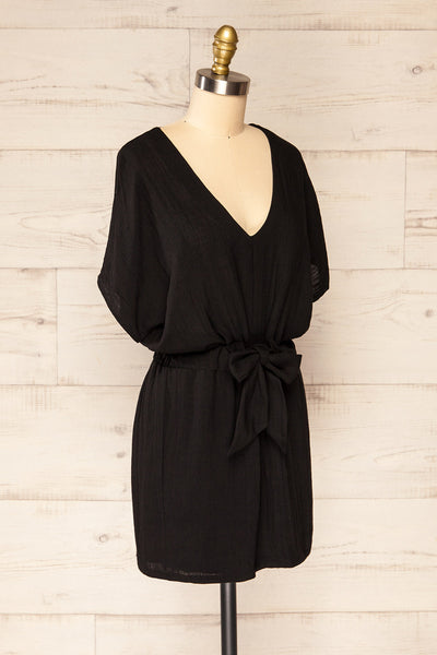 Naousa Black V-Neck Short Sleeve Dress | La petite garçonne side view