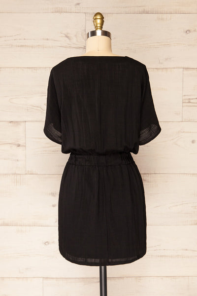 Naousa Black V-Neck Short Sleeve Dress | La petite garçonne back view