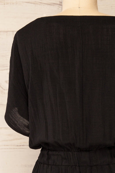 Naousa Black V-Neck Short Sleeve Dress | La petite garçonne back close-up