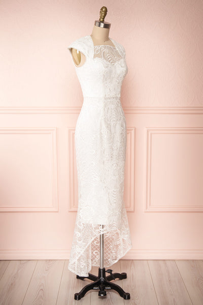 Narcissa White High-Low Mermaid Gown | Robe | Boudoir 1861 side view