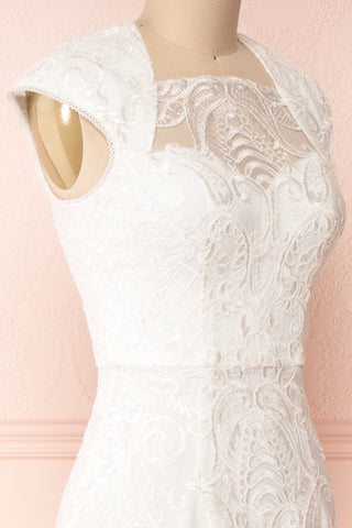 Narcissa White High-Low Mermaid Gown | Robe | Boudoir 1861 side close-up